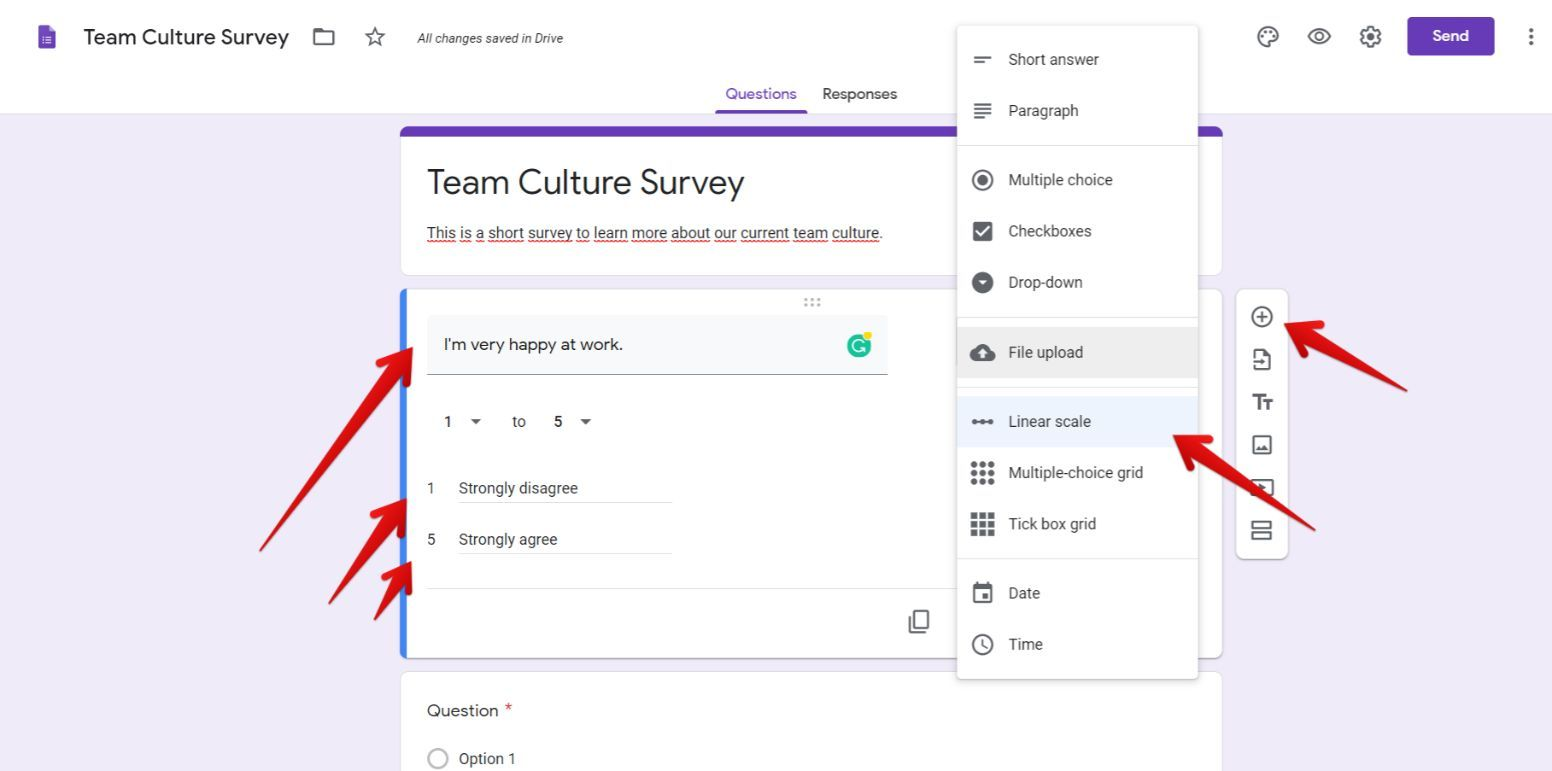 team culture survey in Google Forms